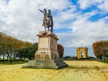 Promenade of Peyrou in Montpellier, France. And a monument of the victory Knight stock images