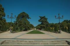 Promenade piétonnière avec des arbres et des réverbères en parc de Madrid photo stock