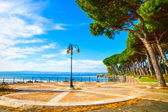 Promenade and pine trees in Bolsena lake, Italy. Royalty Free Stock Photography