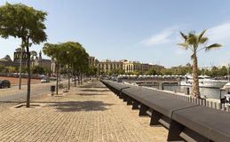 Promenade by port Vell Royalty Free Stock Photos