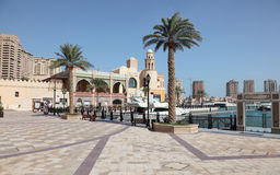 Promenade in Porto Arabia. Doha Royalty Free Stock Photo