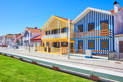 'promenade' principal de Costa Nova, Aveiro, Portugal Imagen de archivo