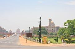 Promenade Rajpath De Indische overheidsgebouwen NEW DELHI Royalty-vrije Stock Foto