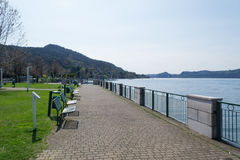 Promenade. Ranco promenade. Lake Maggiore. Italy Royalty Free Stock Photos