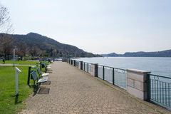 Promenade. Ranco promenade. Lake Maggiore. Italy Royalty Free Stock Images