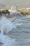 Promenade of resort during a gale. Ukraine, Crimea, Yalta, September 11, 2012 royalty free stock photo