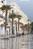 Promenade in the resort town of Yalta in the morning. Ukraine, Crimea, September 18, 2012 royalty free stock photos