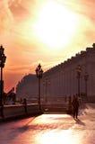 Promenade romantique de l'hiver à Moscou Photographie stock