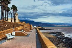 Promenade of Roquetas de Mar. Stormy weather. Province of Almeria. Spain royalty free stock photos