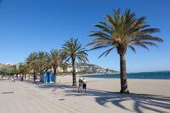 Promenade in Roses, Spain. ROSES, SPAIN - MAY 27: Waterfront promenade in mediterranean town Roses. May 27, 2015 in Catalonia, Spain Royalty Free Stock Photos