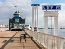 Promenade Schelde quay in Antwerp, Belgium. Promenade Steenplein on Schelde quay in Antwerp, Flanders, Belgium Royalty Free Stock Images