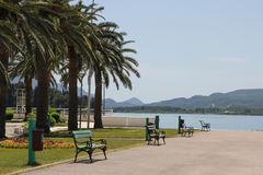 Promenade on the seaside of Tivat Royalty Free Stock Image