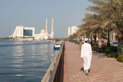 Promenade at Sharjah Creek Stock Photography