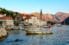 Promenade of small popular resort town of Perast, Montenegro Stock Photo
