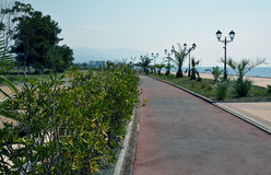 Promenade in Sochi, Russia, with mountains in the far Stock Images