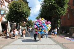 Promenade in Sopot Polen stock afbeeldingen