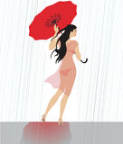 Promenade sous la pluie Photo stock