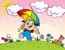 Promenade sous le parapluie Photos libres de droits