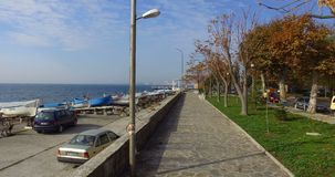 Promenade spring embankment in the Bulgarian Pomorie stock video