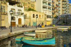 Promenade in St Julians , Malta. Waterfront Park in Sliema, Malta Royalty Free Stock Photos