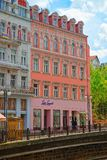 Promenade street above Tepla River in Karlovy Vary Stock Photography