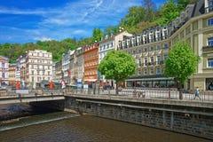 Promenade street above Tepla River Karlovy Vary Royalty Free Stock Photos