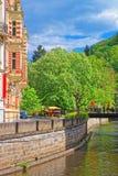Promenade street over Tepla River Karlovy Vary Stock Photography