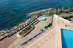 Promenade of Torrevieja city, view from above. Stock Photo