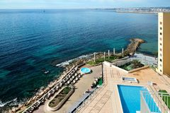 Promenade of Torrevieja city, view from above. Royalty Free Stock Photos