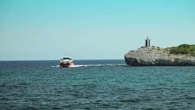 A promenade tourist ship with a transparent bottom in a provincial town Porto Cristo. Mallorca. Porto Cristo, Spain, Balearic Islands, August 2013 A promenade stock footage