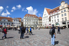 Promenade on the Town hall square in Old Tallinn Royalty Free Stock Images
