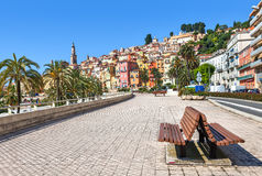Promenade in town of Menton in France. Stock Photo