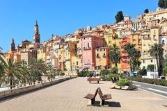 Promenade and town of Menton in France. Royalty Free Stock Photos