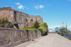 Promenade under walls of ancient fortress. Savona, Italy. 02-07-2017 Stock Photography