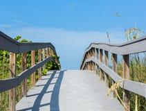 Promenade unter den Seehafern, zum in Florida auf den Strand zu setzen Stockfoto