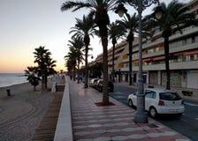 Promenade van Aguadulce bij zonsondergang spanje Stock Foto