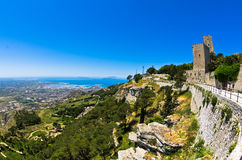 Promenade and viewpoint at famous Egadi islands, Erice, Sicily Royalty Free Stock Image