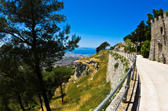 Promenade and viewpoint at famous Egadi islands, Erice, Sicily Royalty Free Stock Photos