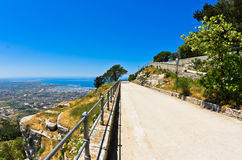 Promenade and viewpoint at famous Egadi islands, Erice, Sicily Royalty Free Stock Images