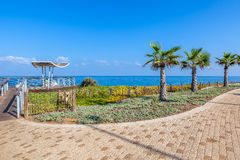 Promenade and viewpoint over shoreline in Ashkelon, Israel. Paved promenade with palms and viewpoint along Mediterranean sea shoreline in Ashkelon, Israel Royalty Free Stock Photography