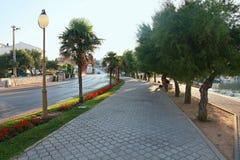 Promenade in Vodice. Morning sun stock photo