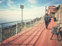 Promenade von Genua Nervi Retro- Art Stockbild