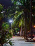 Promenade walkway along Jomtien Pattaya Beach at night time after reconstruction. Stock Images