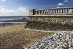Promenade wall at Westcliff, near Southend-on-Sea, Essex, Englan. D against a blue sky Royalty Free Stock Image