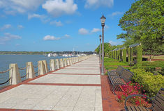 Promenade on the waterfront of Beaufort, South Carolina. Promenade of the Henry C. Chambers Waterfront Park located south of Bay Street in the Historic District royalty free stock image