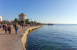 The promenade and White Tower, Thessaloniki, Greece Stock Photos