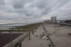 Promenade wurde weg während des Hurrikans Sandy gewaschen Stockbild