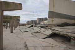 Promenade wurde weg während des Hurrikans Sandy gewaschen Lizenzfreie Stockfotos