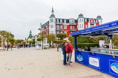 Promenade of Zinnowitz, Usedom, Germany. Zinnowitz, Germany - October 24, 2017: promenade with unidentified people. Zinnowitz is a baltic sea resort and one of a Stock Photo