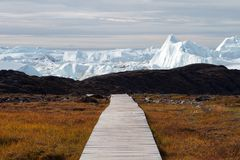 Promenade zum icefjord Lizenzfreies Stockfoto
